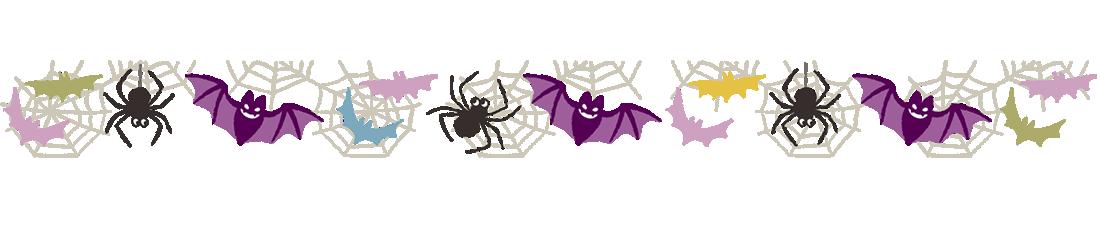 ハロウィン枠・フレーム素材、こうもりとクモ(上)