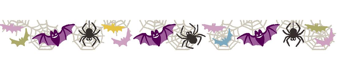 ハロウィン枠・フレーム素材、こうもりとクモ(下)