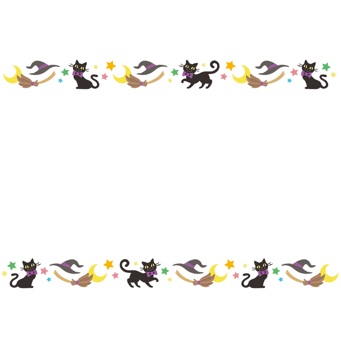 ハロウィン枠・フレーム無料素材 黒猫と魔女と星