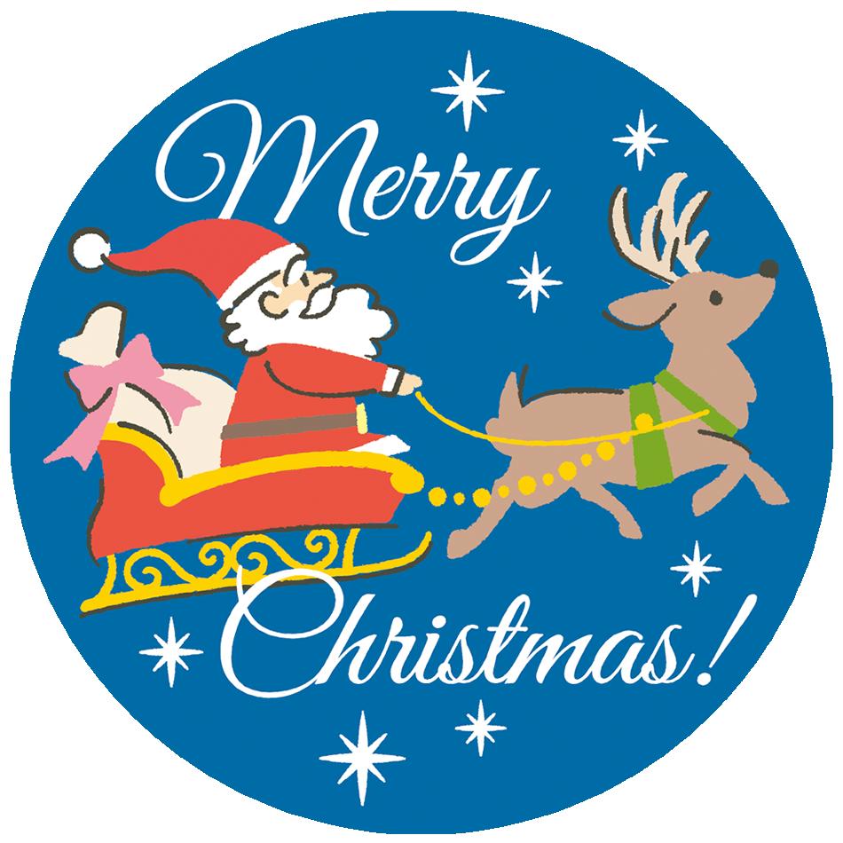 サンタクロースとトナカイのクリスマス用ラベル