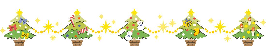 クリスマスツリーのラインフレームイラスト上用