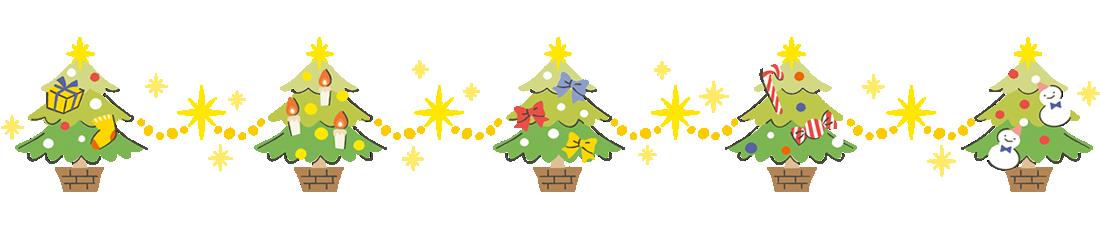 クリスマスツリーのラインフレームイラスト下