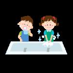 手洗いうがいをする子供イラスト