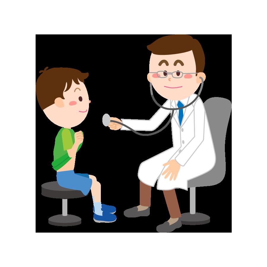 健康診断する男の子のイラスト