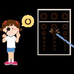 視力検査を受ける女の子のイラスト