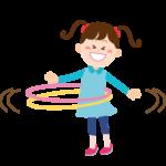 フラフープで遊ぶ子供のイラスト