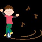 一輪車で遊ぶ男の子イラスト