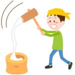 餅つきをする男の子のイラスト