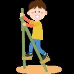 竹馬をする男の子のイラスト