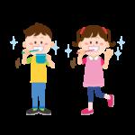 歯磨きをする子供のイラスト