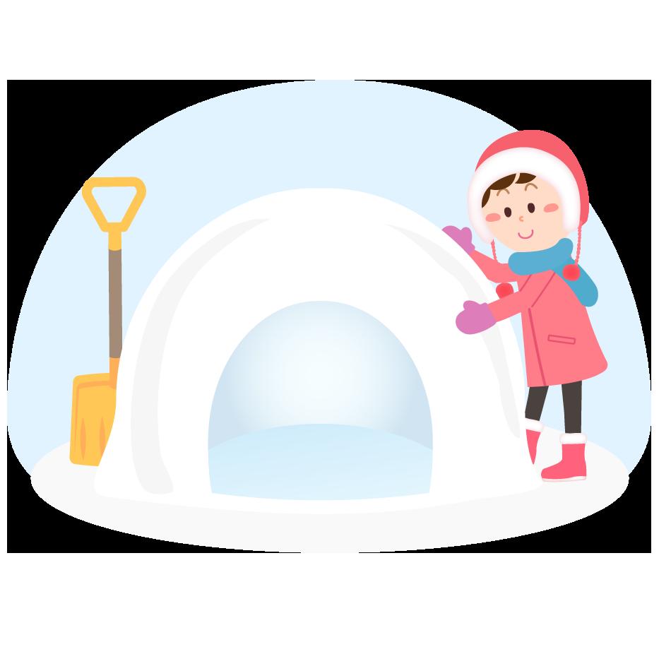 雪かまくらを作る女の子のイラスト