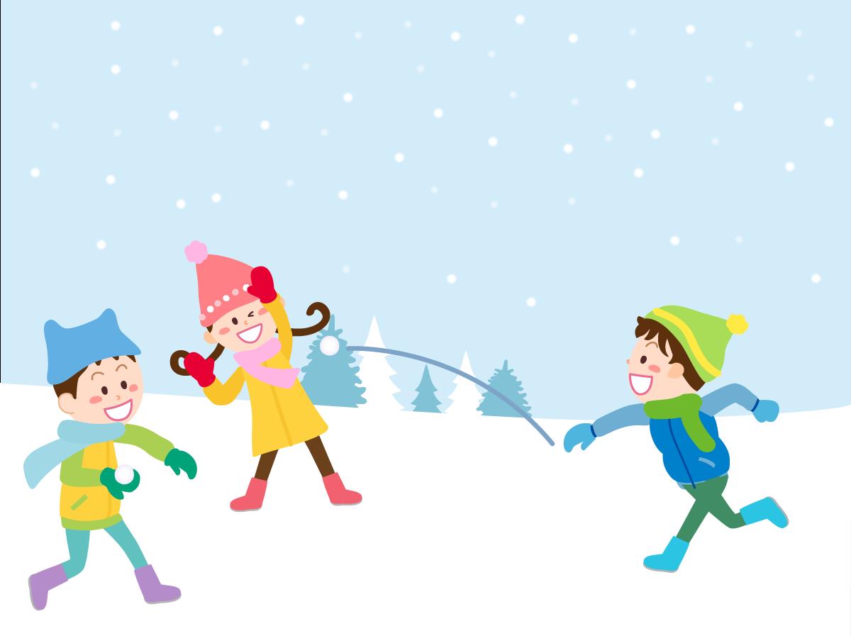 雪合戦をする子供のイラスト