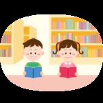 図書室で本を読む子供のイラスト