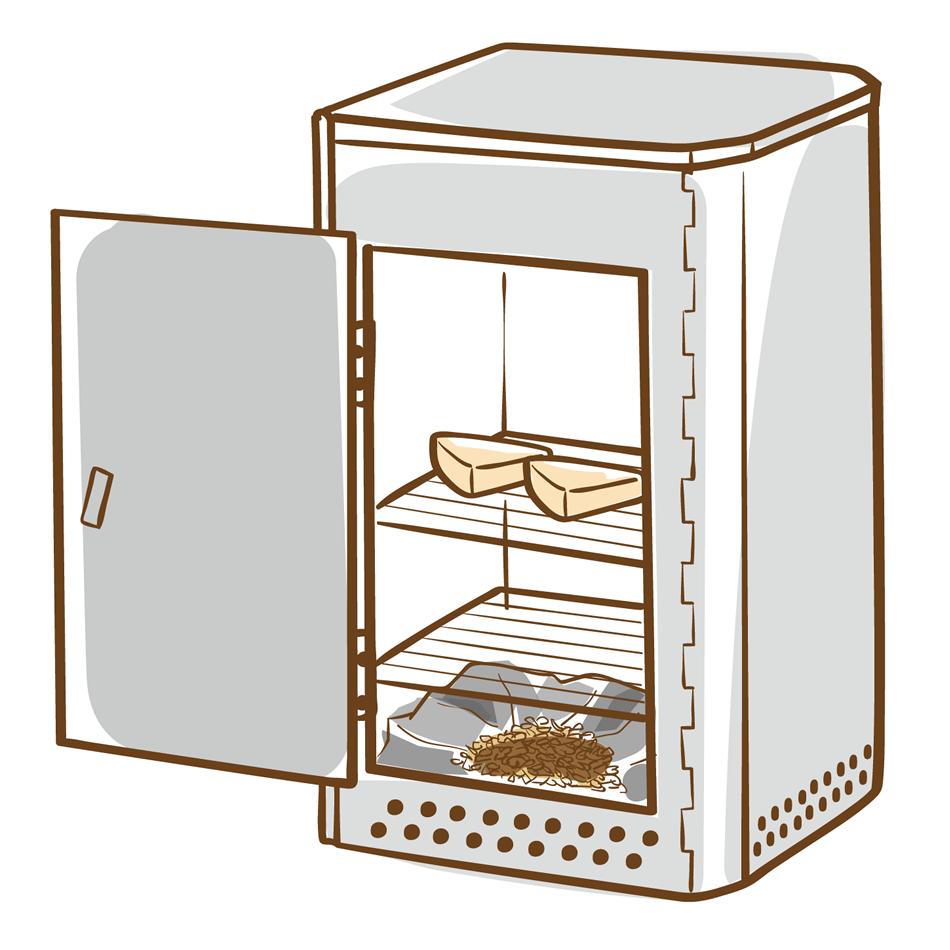 燻製機のイラスト(白フチあり)