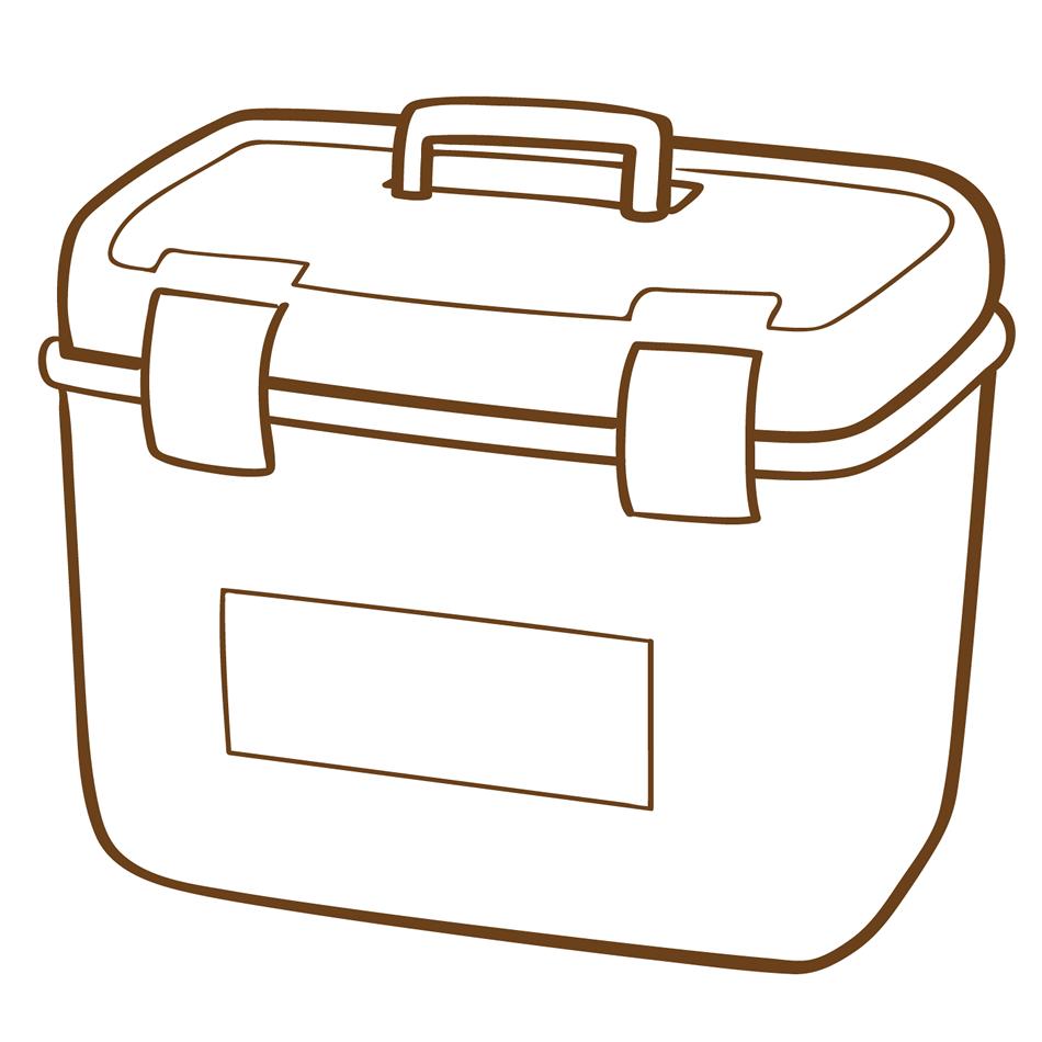 クーラーボックスのイラスト素材(白黒)