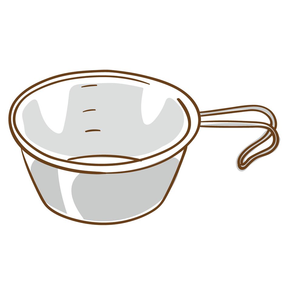 シェラカップのイラスト(白フチあり)