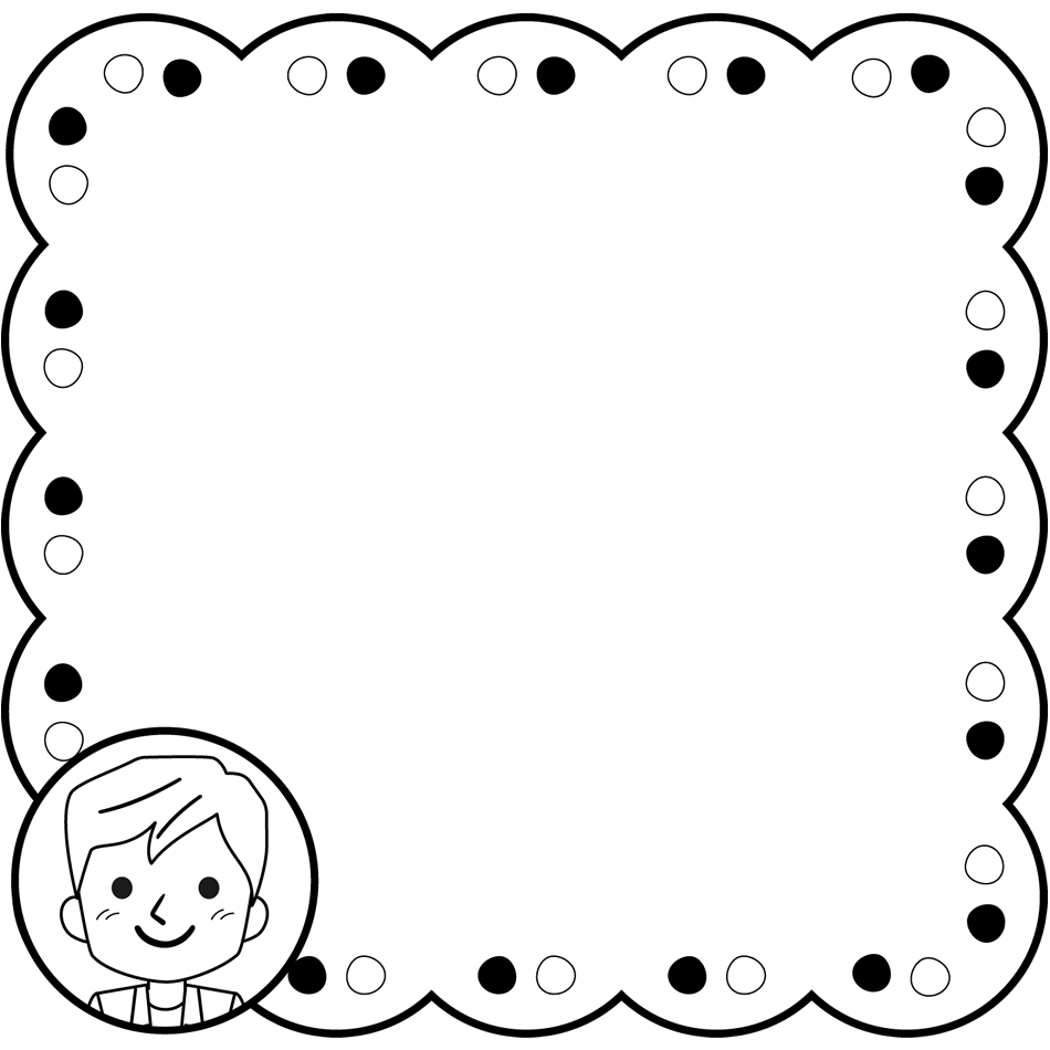 男性先生の囲み枠・フレームイラスト(白黒)