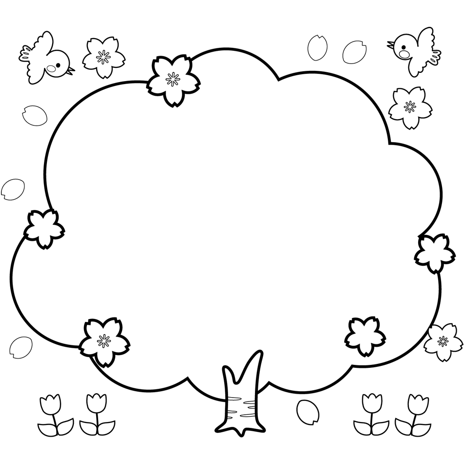サクラの木の囲み枠のフレームイラスト白黒 園だよりお便り