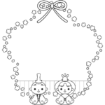 ひな祭りの囲み・枠フレームイラスト(白黒)