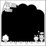 こいのぼり囲み・枠フレームイラスト(白黒)