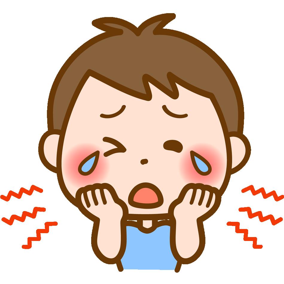 虫歯で歯が痛い子供のイラスト 園だよりお便りチラシで使える