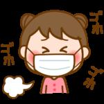 風邪でマスクをしている女の子のイラスト