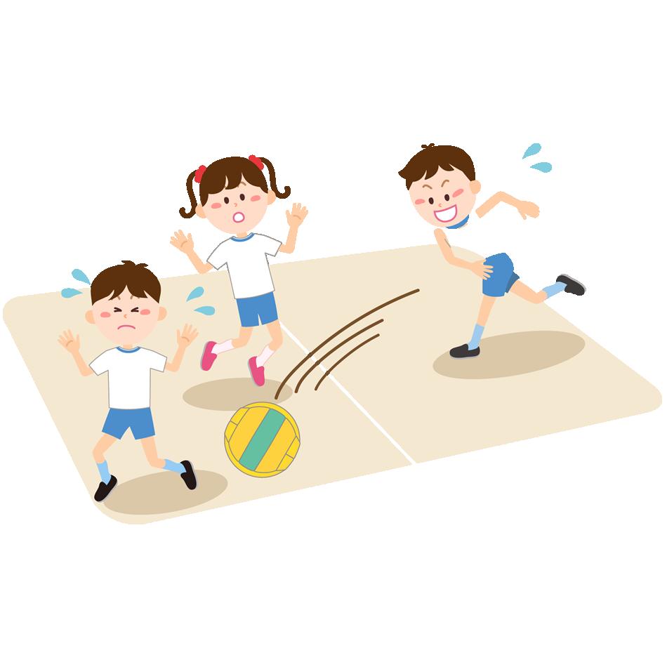 ドッジボールをする子供のイラスト