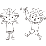 子供の日のかわいいイラスト(白黒)