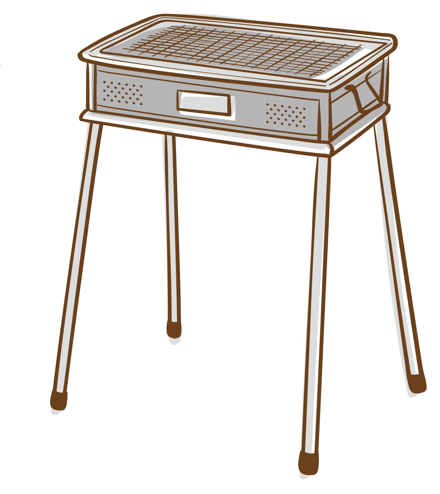 バーベキューグリルのイラスト(白フチあり)