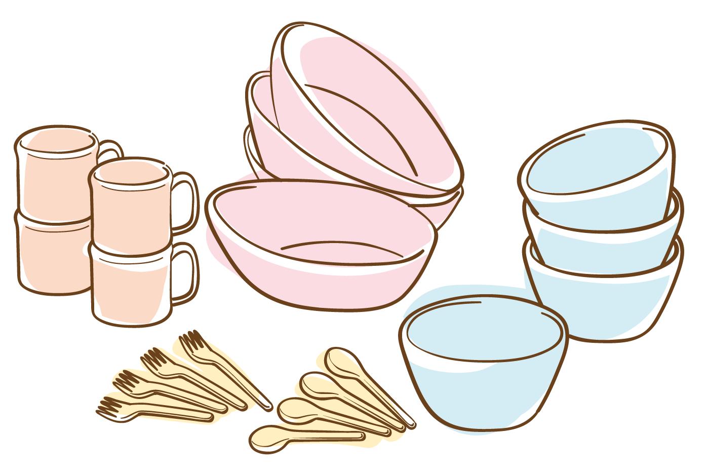 食器のイラスト(白フチあり)