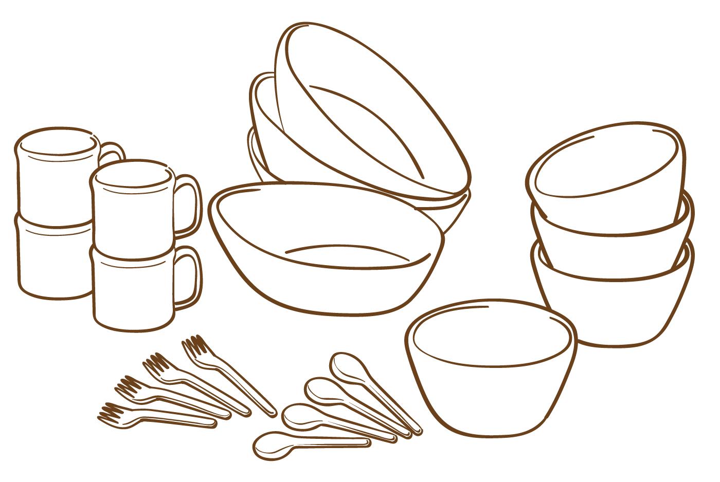 食器のイラスト(白黒)