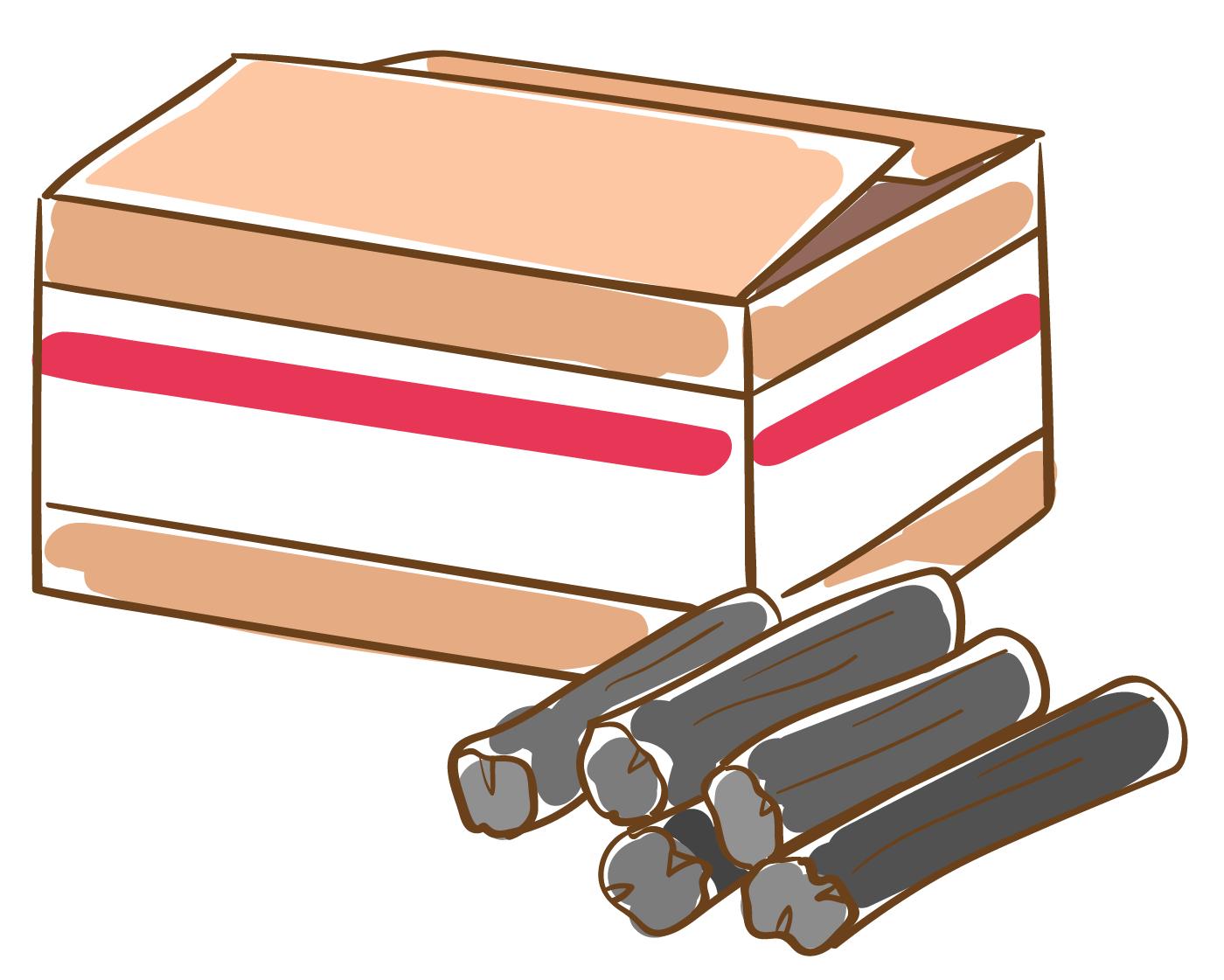 木炭のイラスト(白フチあり)