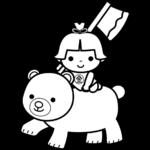金太郎の白黒イラスト(子供の日)