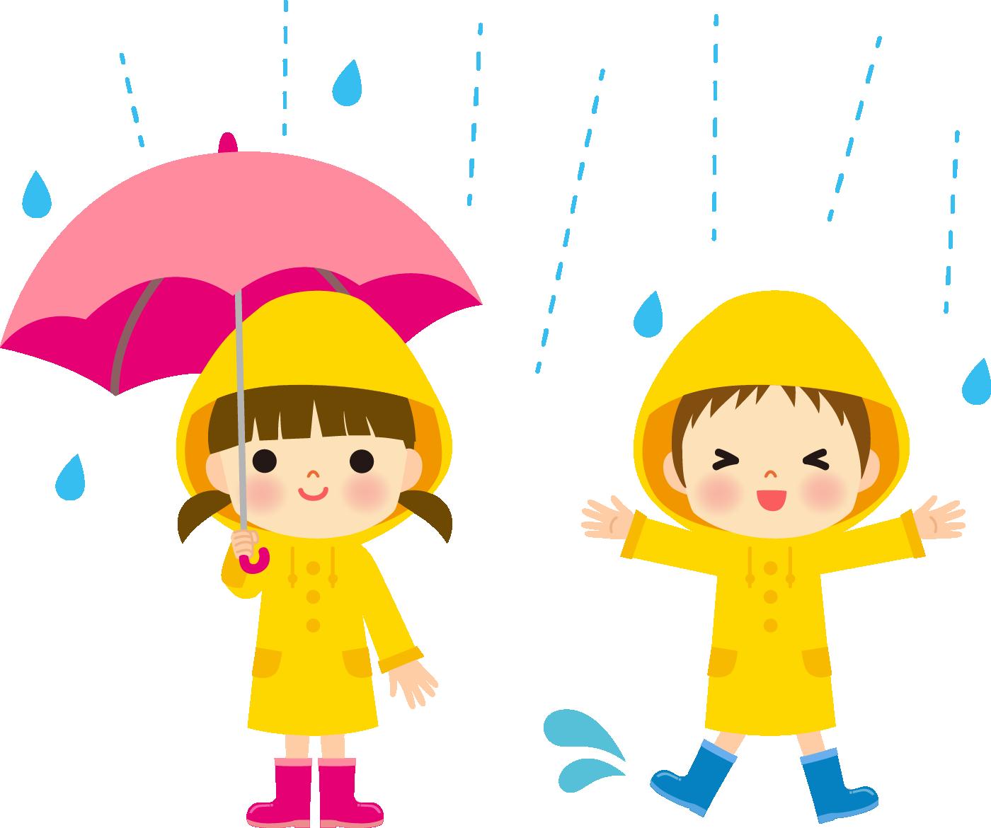 雨の日の子供のイラスト