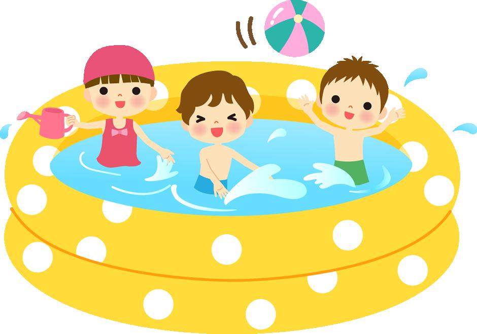 ビニールプールで遊ぶi子供イラスト