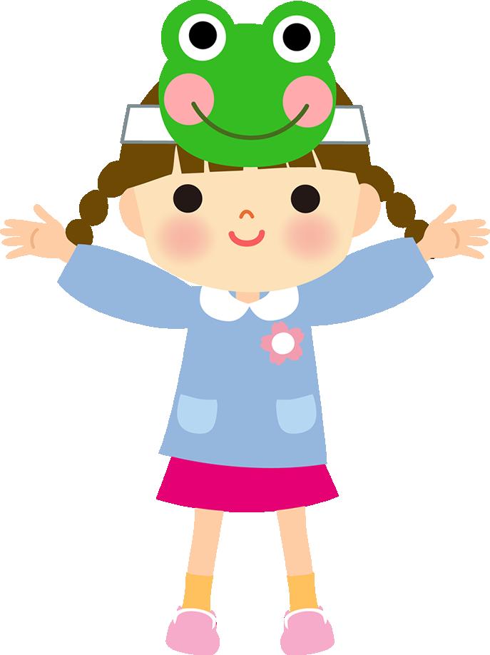 カエルの面をかぶる幼稚園児(保育園児)イラスト(女の子)