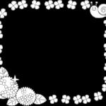 梅雨に使える囲み枠・フレームイラスト(白黒)