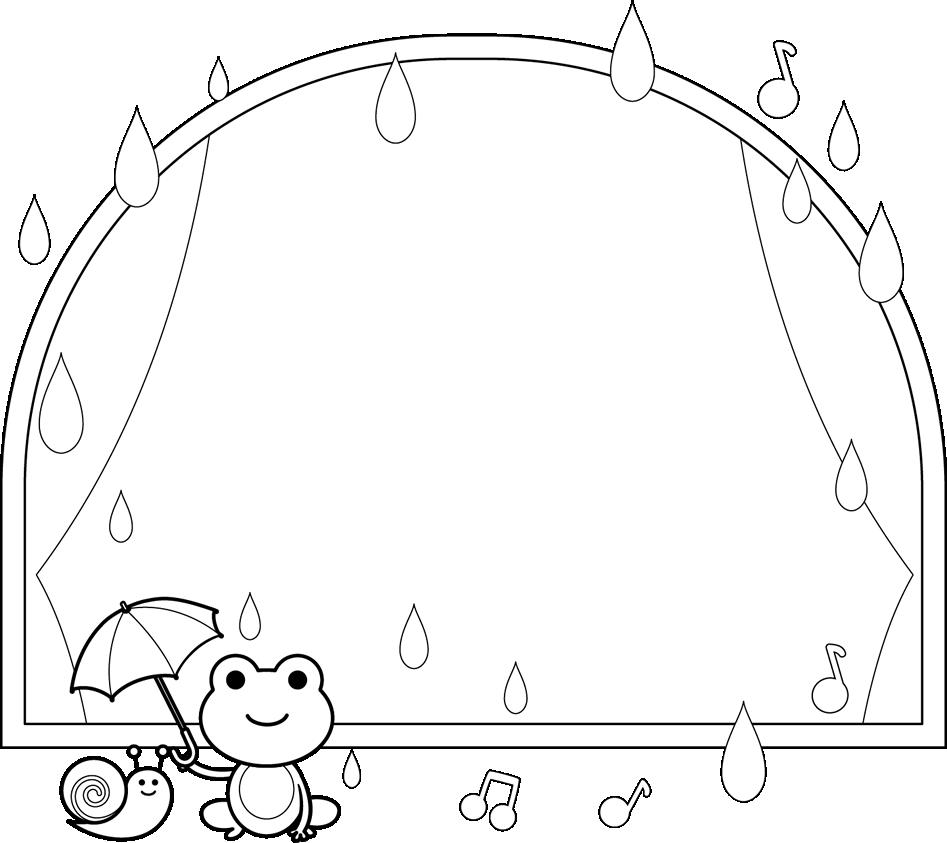 白黒の枠・フレームイラスト(6月梅雨)