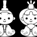 ひな祭りイラスト(白黒)