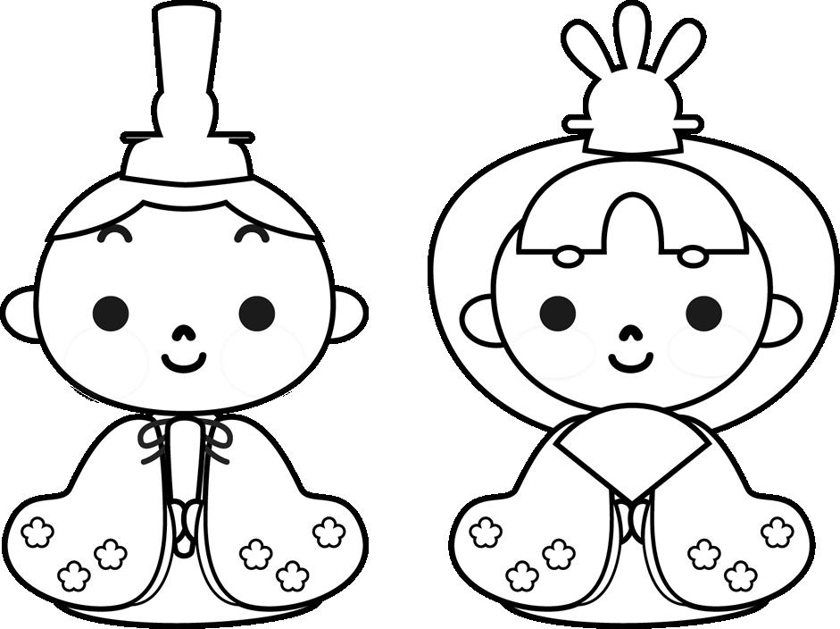ひな祭りイラスト かわいい雛人形白黒 園だよりおたより