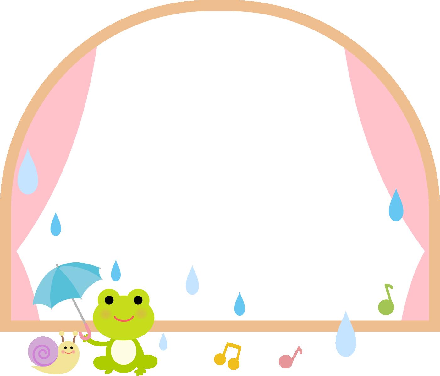 梅雨に使える枠・フレームイラスト(かえるとカタツムリ)
