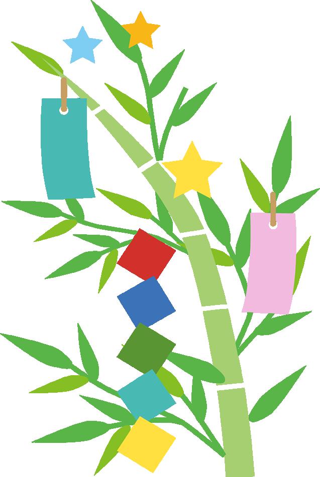 七夕の笹と短冊飾りイラスト