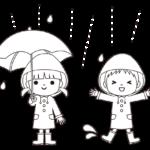 レインコートと傘を着用する子供のイラスト(白黒)