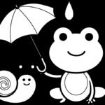 カタツムリとカエルのかわいいイラスト(白黒)