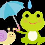 カタツムリとカエルのかわいいイラスト