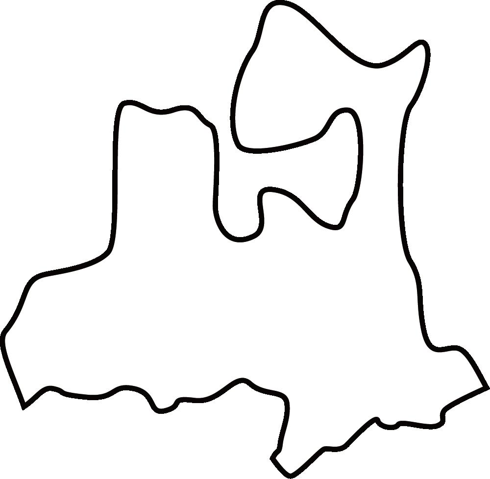 青森県の地図イラスト(白黒)