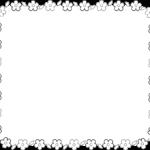 お花の枠・フレームイラスト(白黒印刷用)