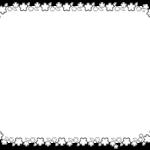 4月に使えるさくらのお知らせ枠・フレームイラスト(白黒印刷用)