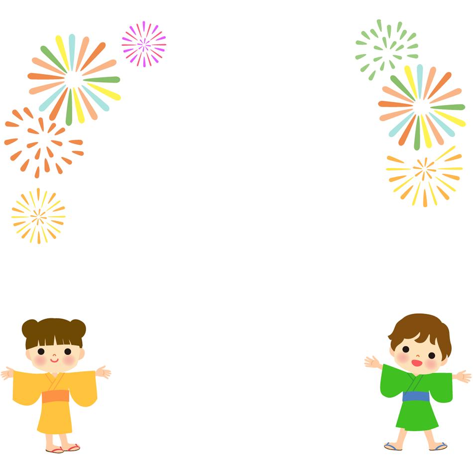 打ち上げ花火の枠・フレームイラスト(お知らせや案内告知に)