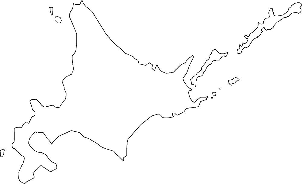 北海道の地図イラスト(白黒)